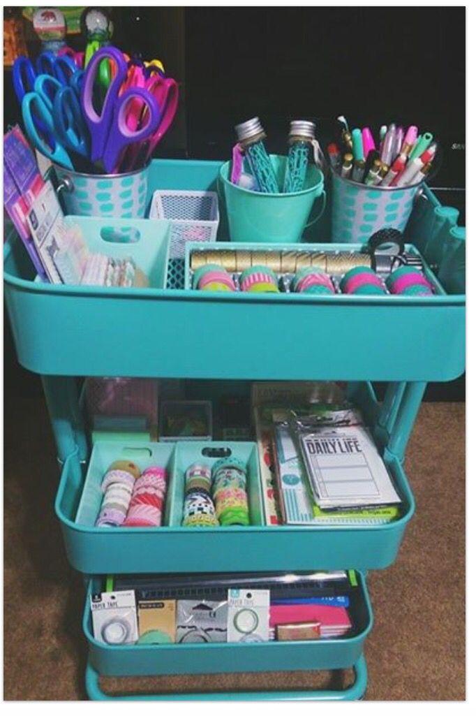 Ikea Raskog cart for organization of my BuJo items!