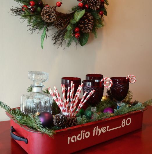 Take the wheels off an old wagon, add handles, and you have a darling tray - for Christmas as well as other times of the year.