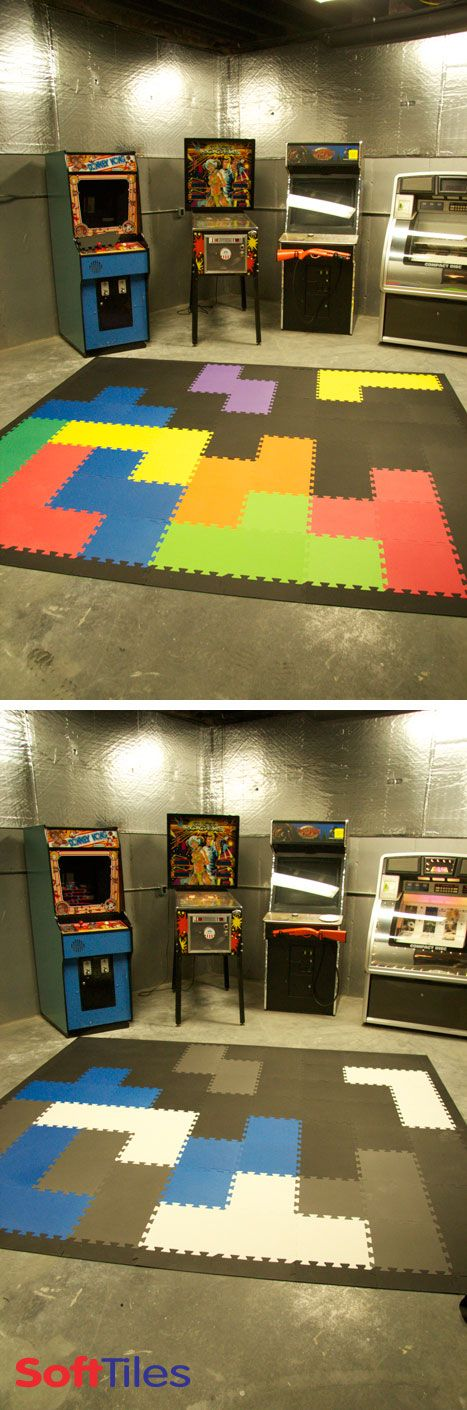 Tetris inspired game room floor using SoftTiles Interlocking Foam Mats. Add a fun arcade theme to any playroom!