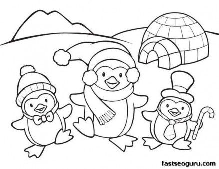 printable coloring pages animal penguins for kids