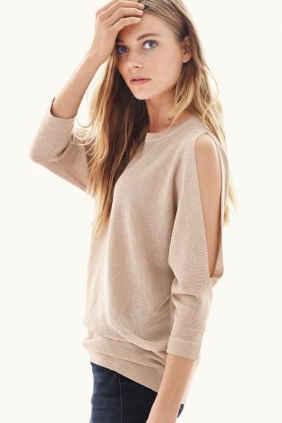 Metallic Cold Shoulder Sweater from Next