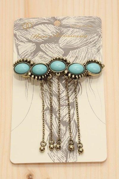 Boho Turquoise Gold Hair Pin Barrette