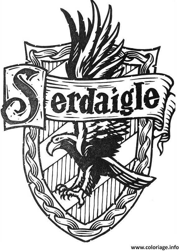 Coloriage blason de Serdaigle Harry Potter Dessin à Imprimer Plus
