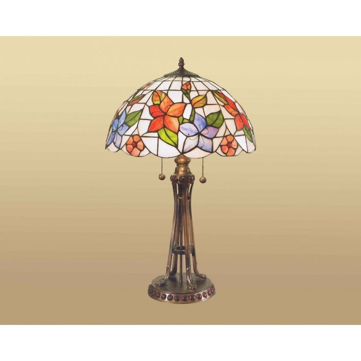 Lampada da Tavolo stile Tiffany con Fiori Arancioni e Viola e sfondo Bianco. Base in Resina. Accensione a Catena/Pendolo