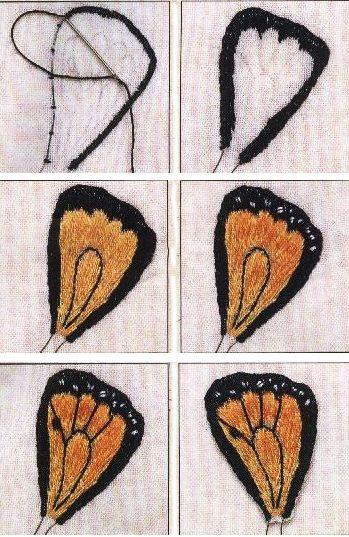 Крылья бабочки. Объемная вышивка