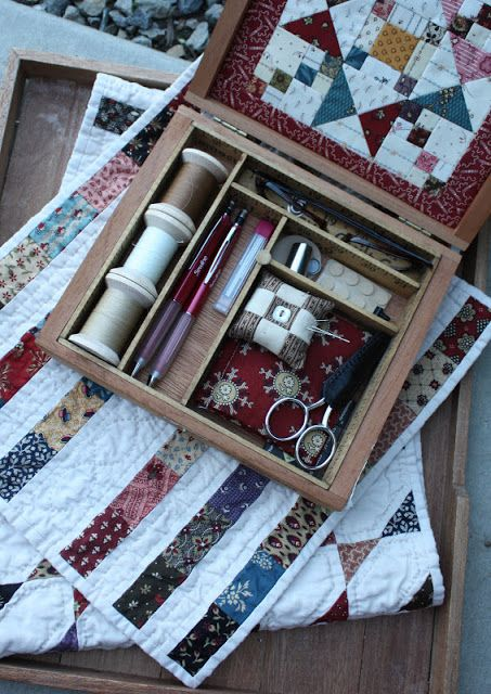 Sewing box made from old cigar box.  Temecula Quilt Co