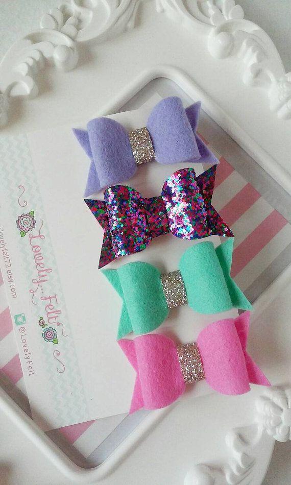 Felt Bow Hair Clips Set-Lilac Light Mint Hot Pink by LovelyFelt72