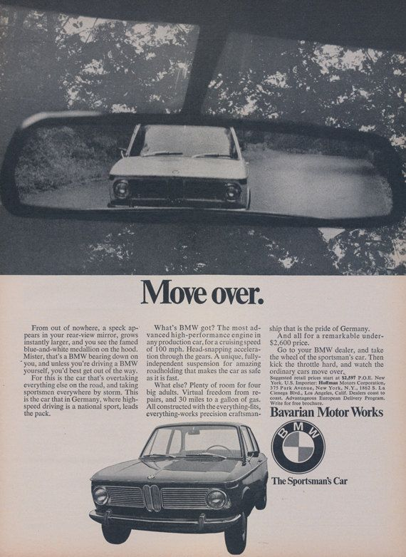 1968 BMW Car Ad Move Over Bavarian Motor Works by AdVintageCom