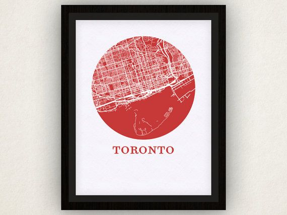 Toronto Map Print City Map Poster by OMaps in red and white