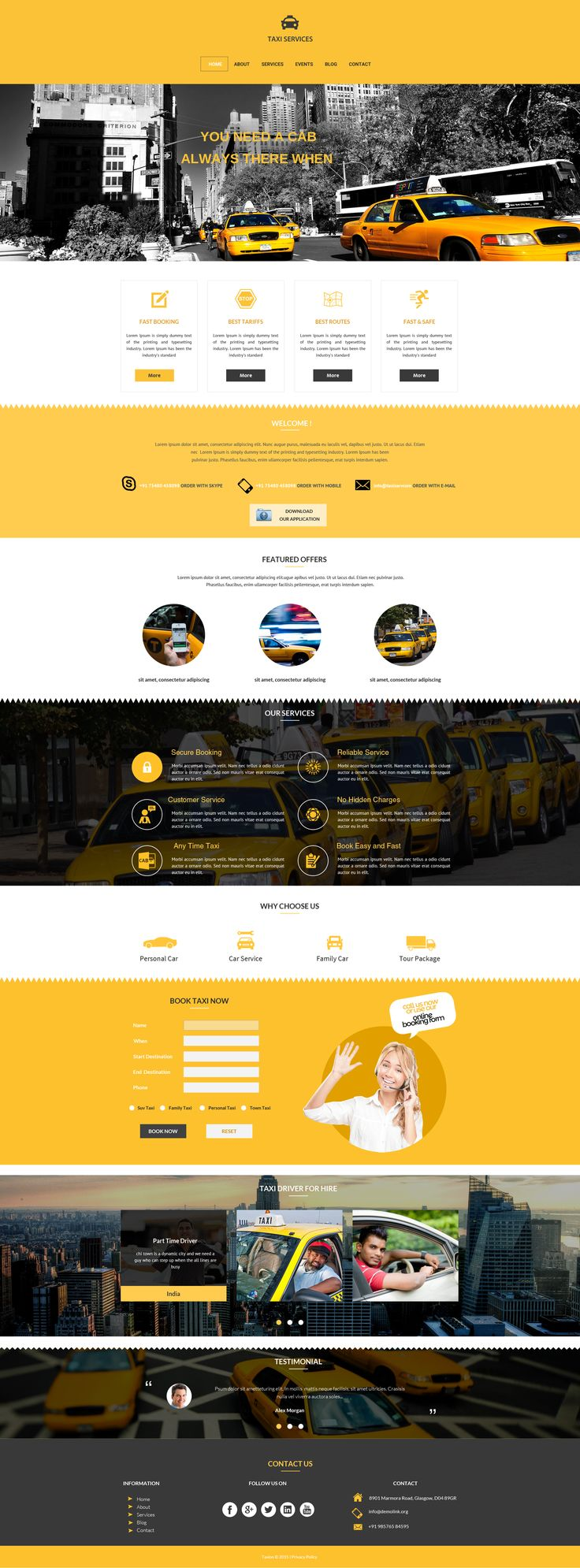 Sell365's Taxi Services Template. One of the best Website Builder in India. Design and customize your own website with our free website templates.