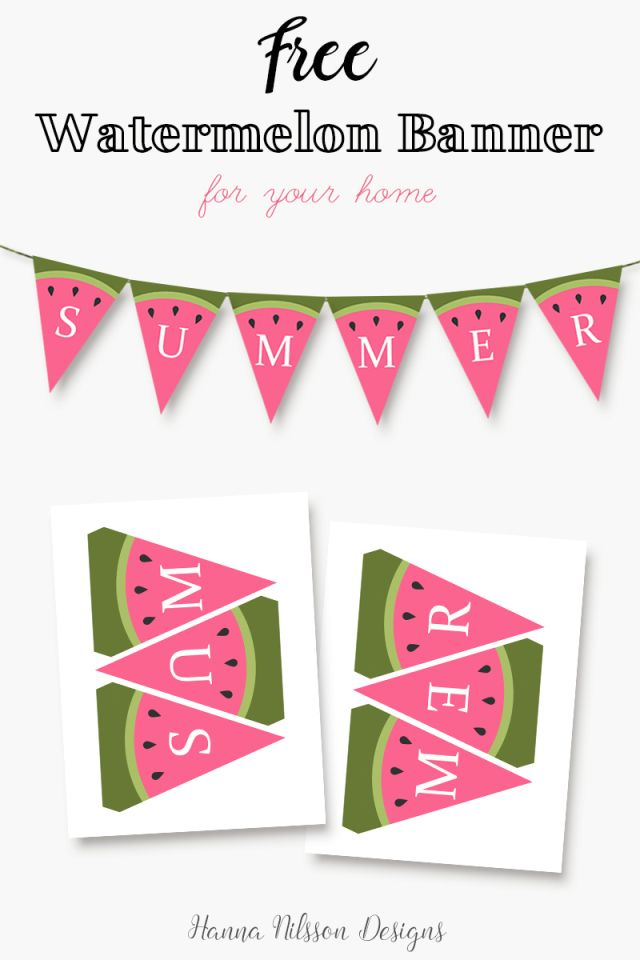 Watermelon SUMMER printable banner. Decorate your home for summer with this cute and free banner. -------------------------------- summer party decorations, home decor, watermelon decor, bbq, bunting, banner, flags, green, pink, red, frugal decor, print at home