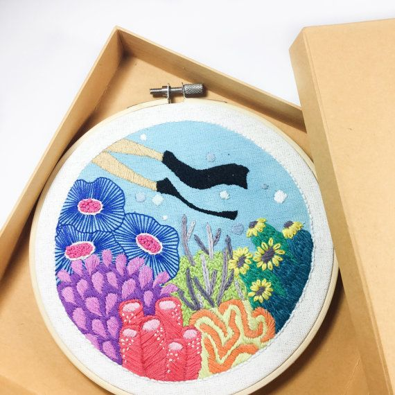 The Undersea Embroidery Hoop is a one kind special listing and will not recreate. This piece artwork framed in a 7 wooden hoop. Its ready to hang. The back stitches is covered.  Made by inspired girl who like diving and adventure ❤️  Material : Wooden Embroidery Hoop, Cotton Fabric and Cotten Floss  Shipping with Express Post Indonesia including tracking numbers.