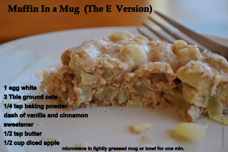 Muffin in a Mug (The E version) 1 egg white 3 Tbsp ground oats 1/4 tsp baking powder dash of vanilla dash of cinnamon sweetener to taste 1/2 tsp butter or oil 1/2 cup diced apples Microwave in lightly greased mug or bowl for 1 min. (contains 23 carbs and 3 g fat)