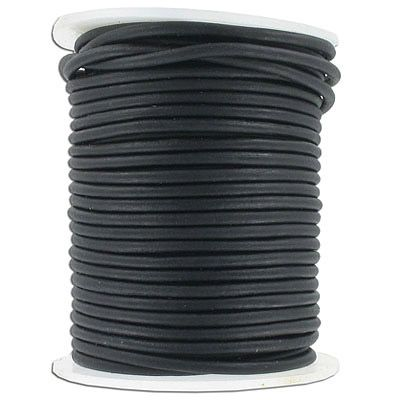 Leather cord, 3mm, round, matte black, 25 meters. (SKU# TT3MMA/MBLK). Sold per pack of 1 spool(s).