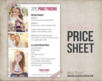Photography Package Pricing   Photographer Price List   Marketing    Photoshop Template Photography Packages   INSTANT DOWNLOAD