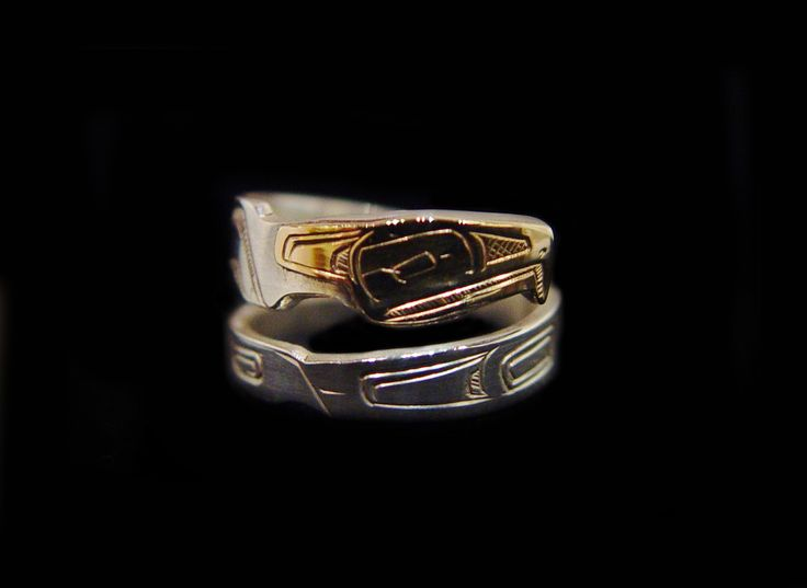 Raven Ring 2, Robert Tait, Nisga'a. Sterling silver, 14 k gold., wrap style. Northwest Coast First Nations Jewelry.