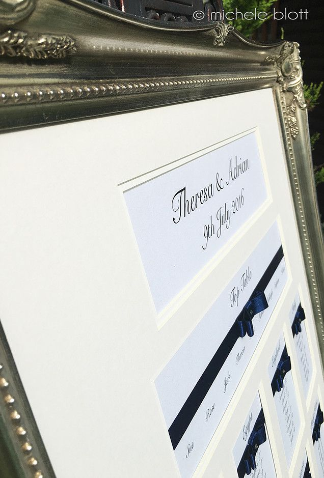 Elegant Wedding Stationery by Michele Blott. Designer Luxury Framed Table Seating  Plans without the Designer Price Tag. We specialise in creating perfection.
