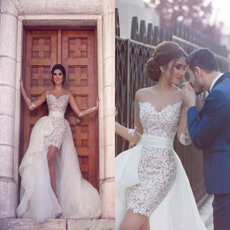 Find More Wedding Dresses Information about New Robe de mariage Lebanon Arabic High Low Sexy Lace Wedding Dresses 2017 Removable Skirt  Bridal Dress With Detachable Train,High Quality dress cinderella,China dress sarees Suppliers, Cheap dress up time prom dresses from Cinderella's_Dress on Aliexpress.com