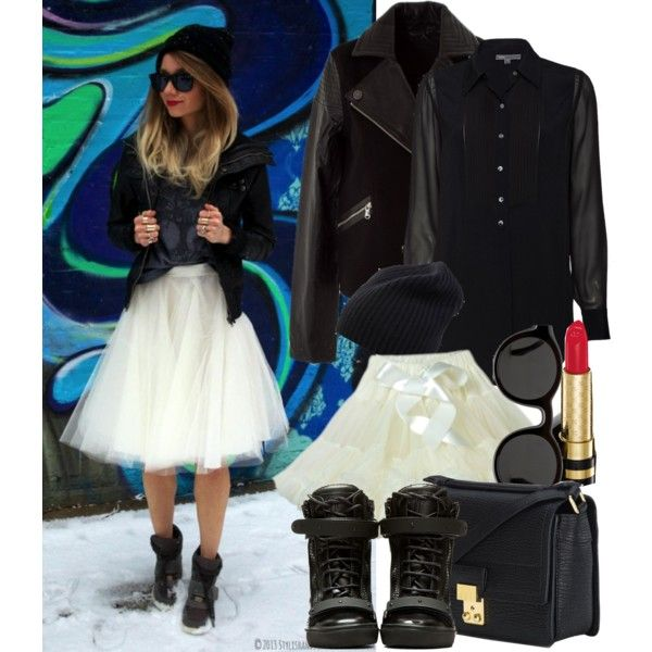 """How to: Black & White and Tulle"" by vallle on Polyvore"