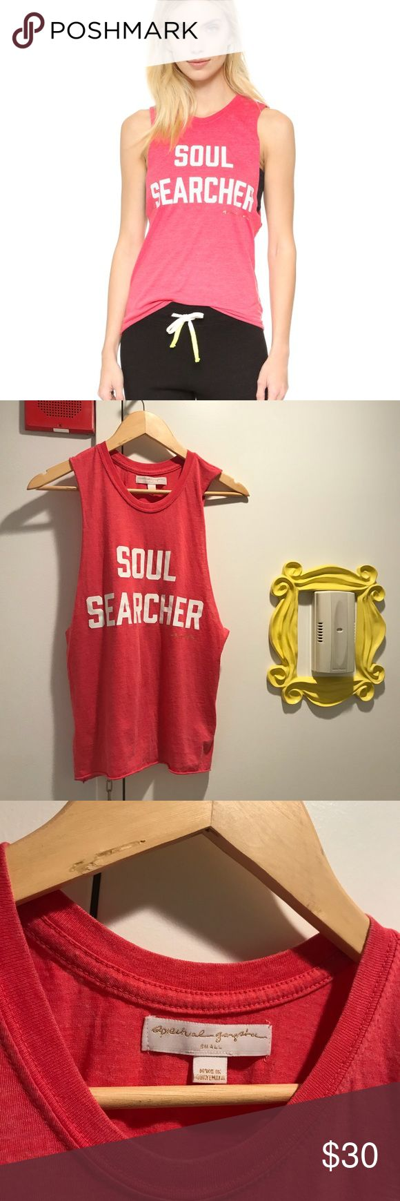 SPIRITUAL GANGSTER 'Soul Searcher' Muscle Tank * Like new - great condition! *  Soul Searcher Burnout Coachella Tank  Iron-on 'Soul Searcher' lettering and a metallic logo design detail the front of this casual Spiritual Gangster tank. Banded crew neckline. Raw, exaggerated arm openings and rolled hem.  Fabric: Jersey. 50% cotton/50% polyester. Wash cold. Imported, Guatemala.  Measurements Length: 23.25in / 59cm, from shoulder Spiritual Gangster Tops