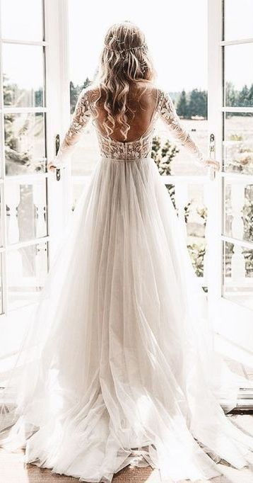 Long Sleeve Beaded Floral Lace See Through Boho Wedding Dresses AWD1267