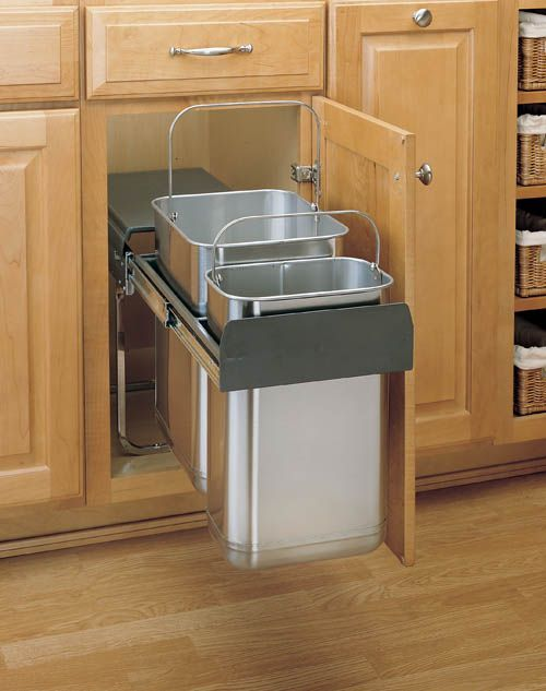 Double Pullout Stainless Steel Waste Containers, Rev-a-Shelf 8-785 Series