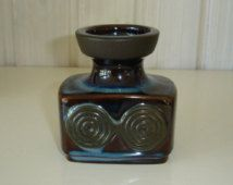 Small Vintage Søholm Ceramic Vase, 3450 - Brown and Blue Glaze - small pottery Vase with Viking symbol