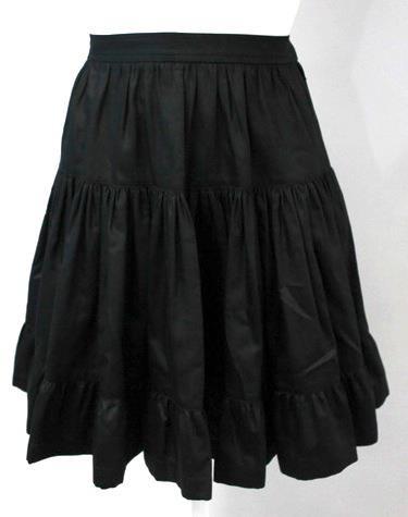 YVES SAINT LAURENT Black A-Line Knee Length Skirt Sz 6. Mint Vintage. Available at pilgrim 70 orchard street new york city