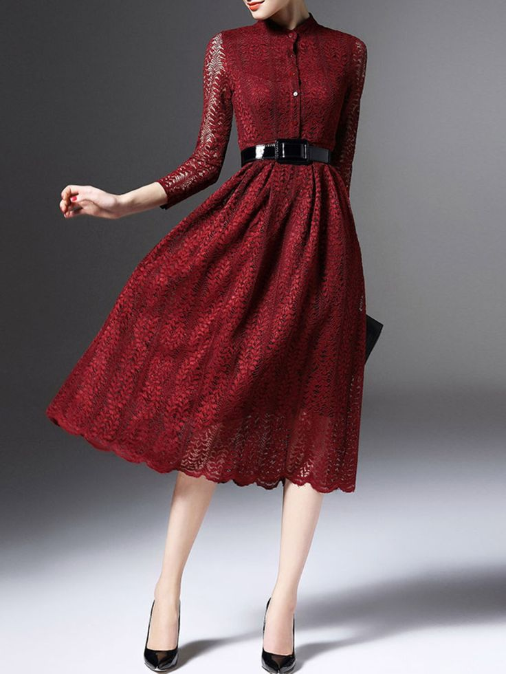 Pierced Lace Midi Dress with Belt