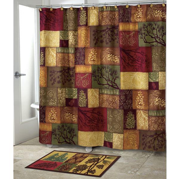 Country Christmas Bathroom Sets: Adirondack Pine Country Shower Curtain By Avanti