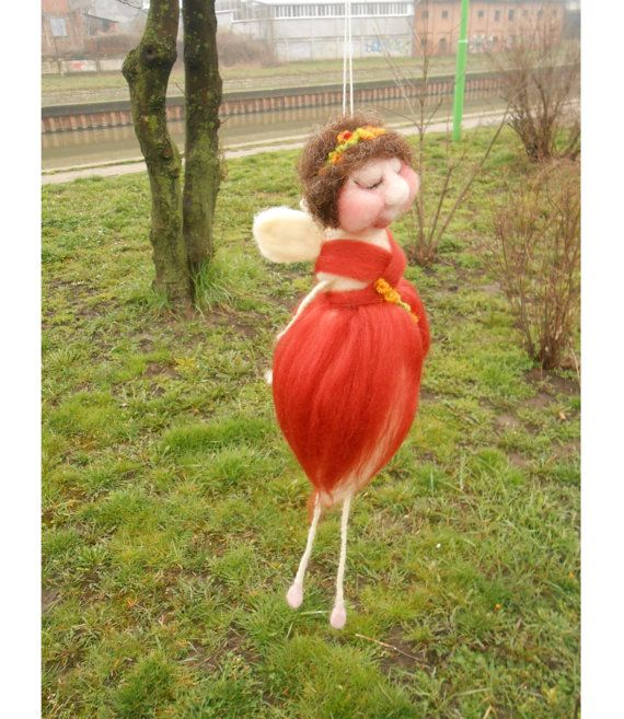 Spring Fairy mobile. Needle felted Floral Fairy sculpture. Flower girl Waldorf fairy doll.