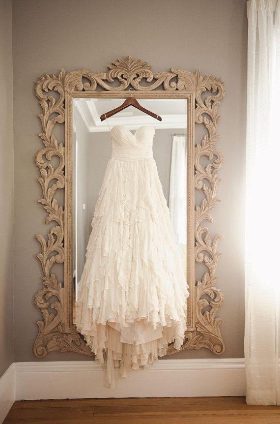 Your Dress Against A Beautifully Framed Mirror Line Chiffon Wedding Ivory