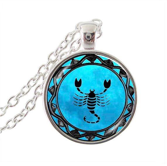 Скорпион ожерелье, Скорпион знак заявление ожерелье, ювелирные изделия зодиака скорпион знак зодиака подарки на день рождения стекло кабошон