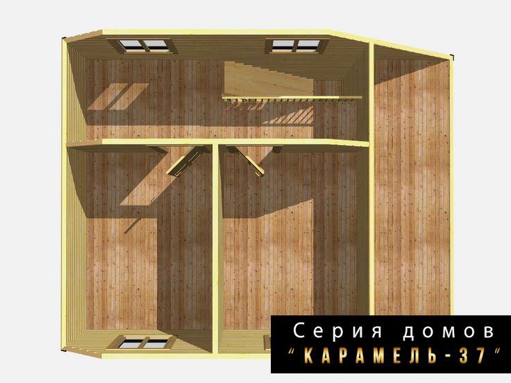 Дом из профилированного бруса 6х8 метра проект «Карамель – 37»   РОССИЙСКАЯ СТРОИТЕЛЬНАЯ ГРУППА