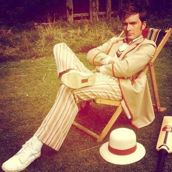 David Tennant cosplaying as the Fifth Doctor (his father in law IRL) - I omg, its like...Whoception. I don't give a shit that it's photoshopped.