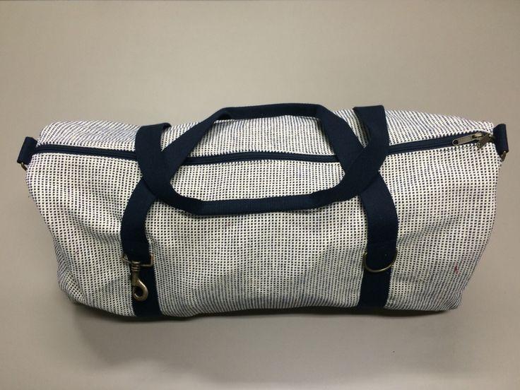 5 - Classic big bag, L70cm X H45cm, tessuto cotone a quadretti bianchi e blu / corde cotone blu (Flash Portofino pe15)