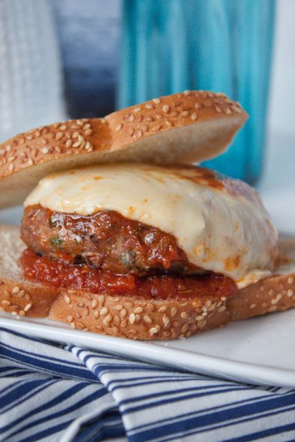 homemade chicken parmesan burgers with red bell peppers ...
