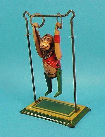 icollect247.com Online Vintage Antiques and Collectables - Tumbling Monkey & Trapeze Wind Up Toy Marx 1932 Toys-Wind