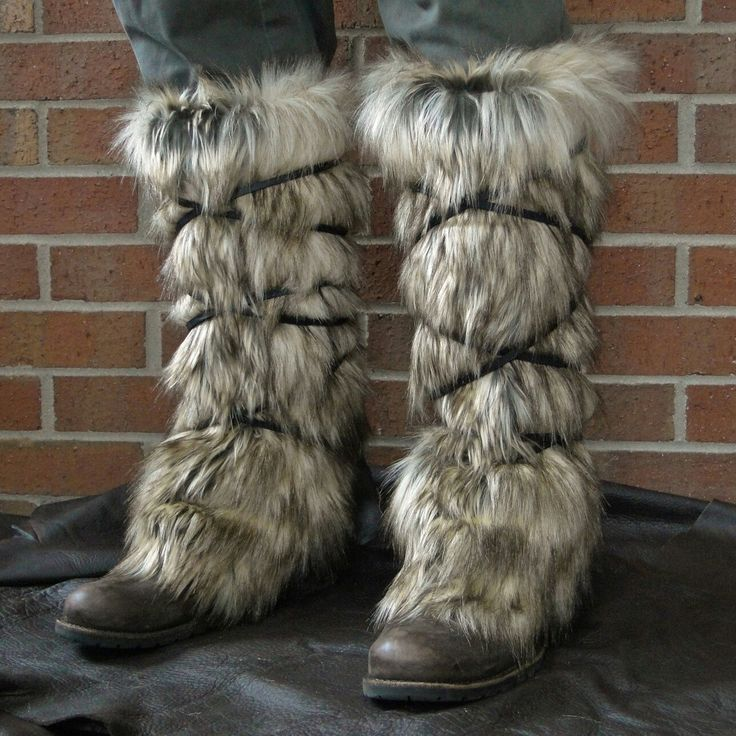 Fur leggings, boot covers, medieval, viking, barbarian costume. Made and sold by folkofthewood on etsy