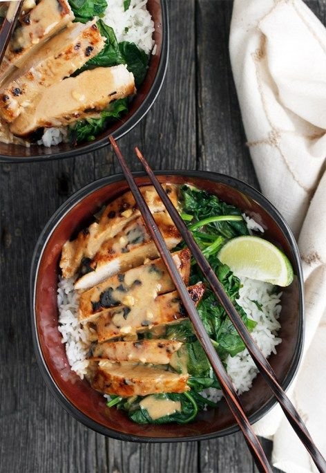 ... thai pork rice bowl with peanut sauce and lime rice thai pork with
