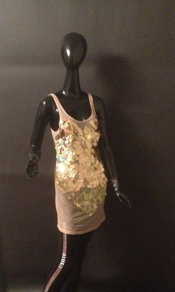 Paillettes d'or brillants perlé réservoir tunique par LuxuriaFata