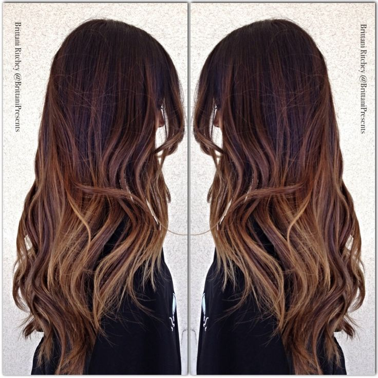 Medium brown hair with gold balayage highlights ombre sombre
