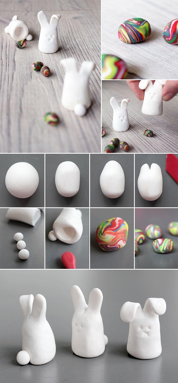DIY: Kleine Osterhasen aus Fimo für Ostern gestalten. Geht auch mit Kindern.  #…