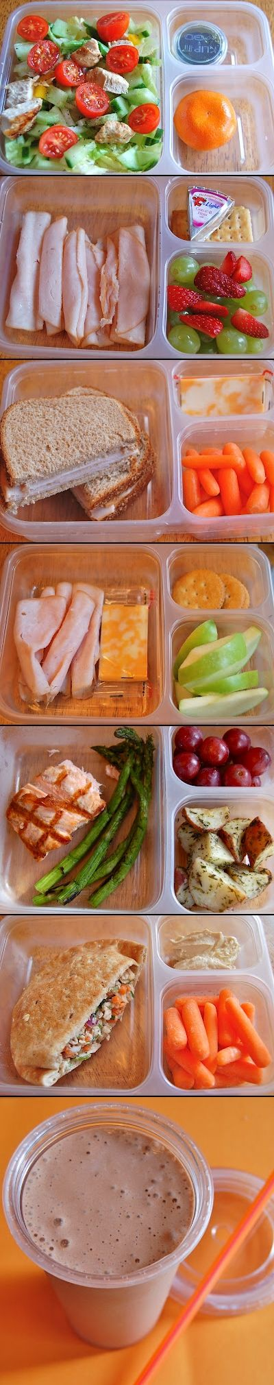 Healthy Lunch Ideas -- you can buy the bento-type containers (Ziploc) at Walmart, Target, etc.