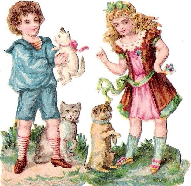 Oblaten Glanzbild scrap diecut chromo Kind child  8cm Katze cat chat  Hund dog