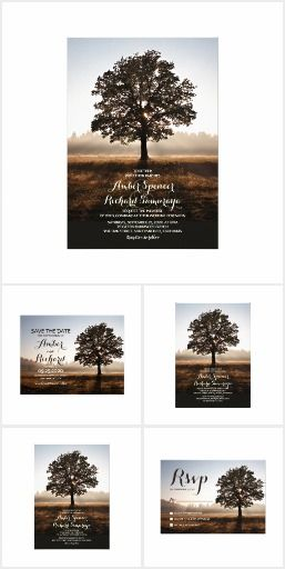 This tree themed wedding invitation set is perfect for when you're having an outdoor, garden, park, trees, backyard, country, nature inspired or countryside themed wedding.