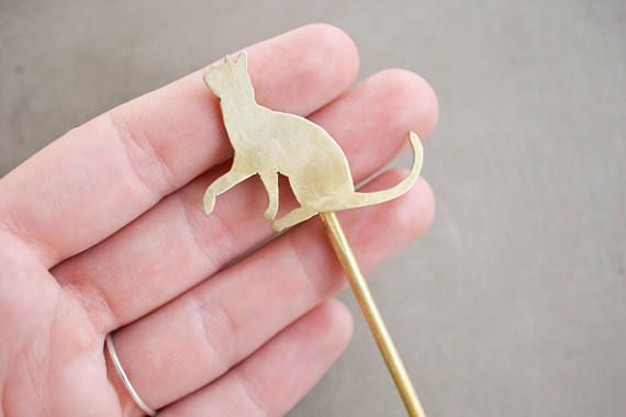 Brass playing cat hair pin kitten hair accessory bun pin