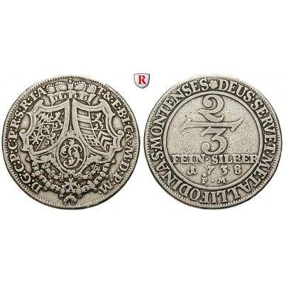 Jülich-Kleve-Berg, Herzogtum Jülich-Berg, Karl Philipp, 2/3 Taler 1738, ss: Karl Philipp 1716-1742. 2/3 Taler 1738 Düsseldorf.… #coins