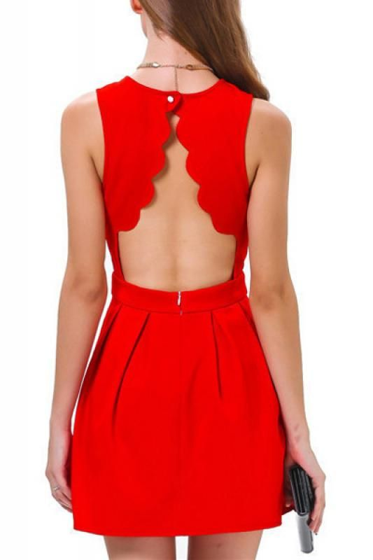 Red Scalloped Holiday Dress