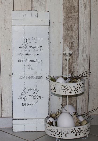 Schild Holz Shabby Chic Das Leben von white-living-art auf DaWanda.com